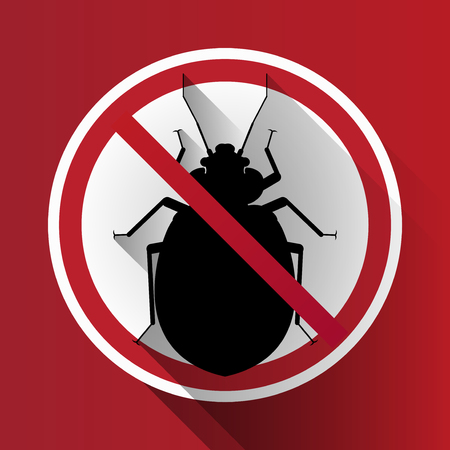 bloodsucker: vector long shadow silhouette bed bug sign