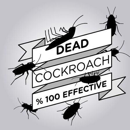 cockroach: vector flat silhouette cockroach ribbon badge banner
