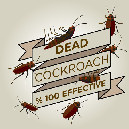 vector flat cockroach ribbon badge banner icon