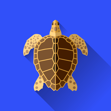vector long shadow flat sea turtle sign