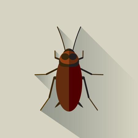 Vector Long Shadow kakkerlak Bug Insect Walgelijk Vector Illustratie