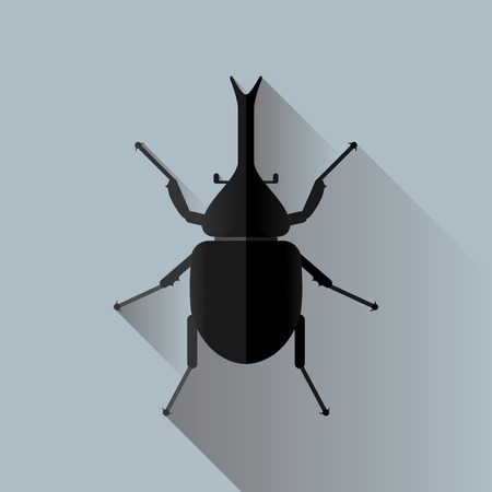 Vector Long Shadow Rhinoceros Beetle Bug Insect