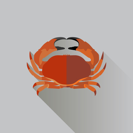 Vector Long Shadow Flat Red Crab Sign