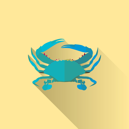 Vector Long Shadow Flat Blue Crab Sign