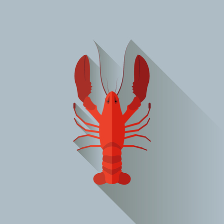 Vector Long Shadow Flat Red Lobster Sign Ilustração