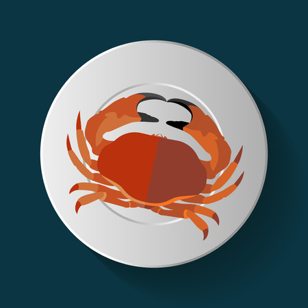 Vector Long Shadow Red Crab Plate Table Ilustração