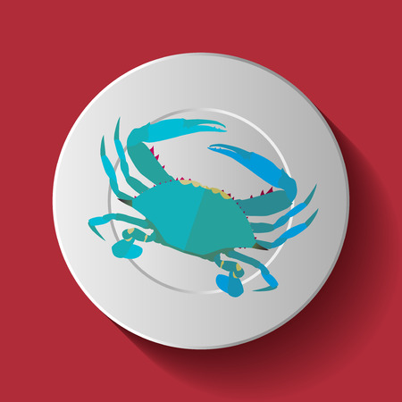 blue crab: Vector Long Shadow Blue Crab Plate Table
