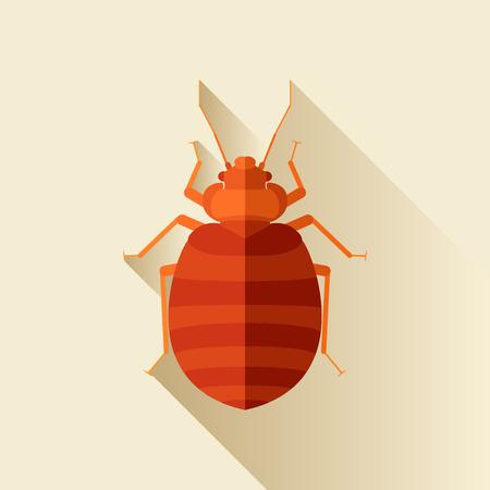 bedbug: Vector Long Shadow Flat Bedbug Blood Sucker Illustration