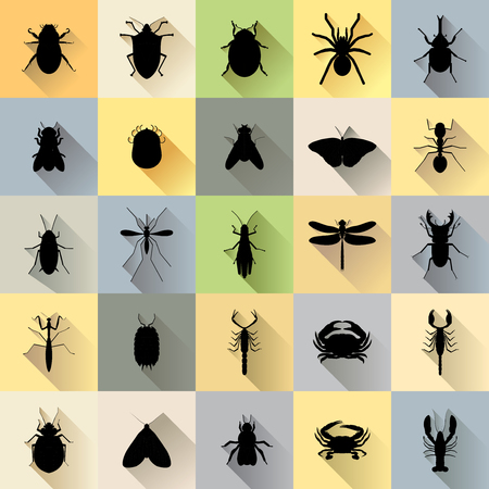 Vector Long Shadow 25 Silhouette Bug Insect Set