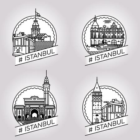 vector line Istanbul historical building badge set Stock Illustratie
