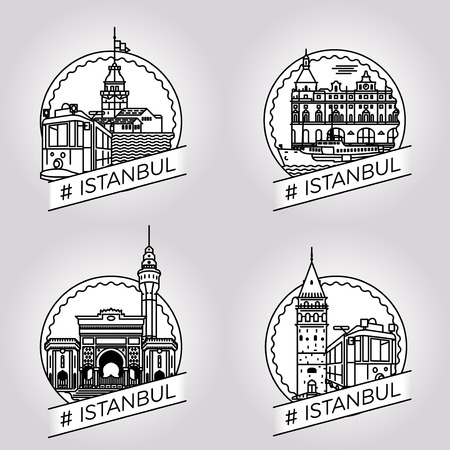 historical building: vector line Istanbul historical building badge set Illustration