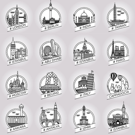 historical building: vector line city and country historical building badge set Illustration