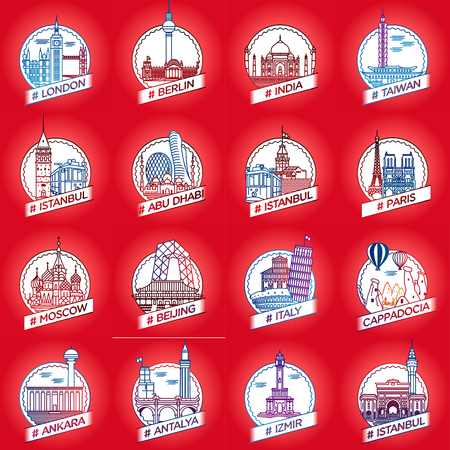 vector line city and country historical building badge set Ilustração