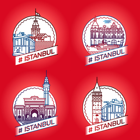 historical building: line Istanbul historical building badge set