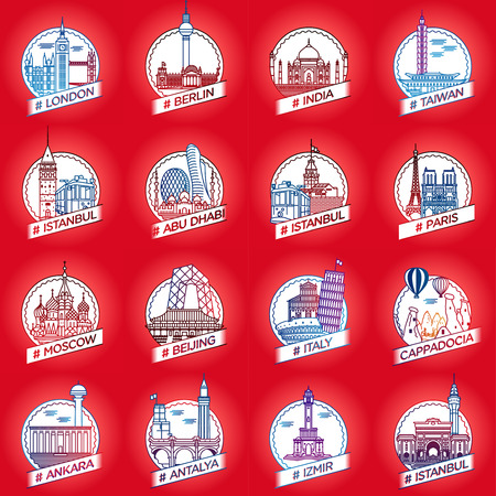 line city and country historical building badge set