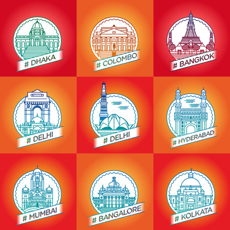colombo: vector line dhaka, colombo, bangkok, delhi, hyderabad, hyderabad, bangalore, kalkata, badge set