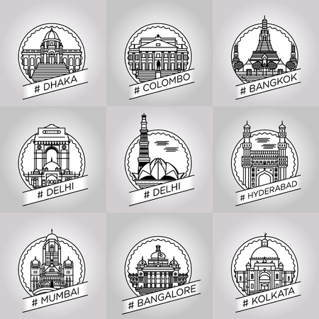colombo: vector line dhaka, colombo, bangkok, delhi, hyderabad, hyderabad, bangalore, kalkata, badge set
