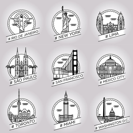 vector line rio de janeiro, new york, lima, sao paulo, san francisco, mexico city, toronto, miami, washington dc city badge set