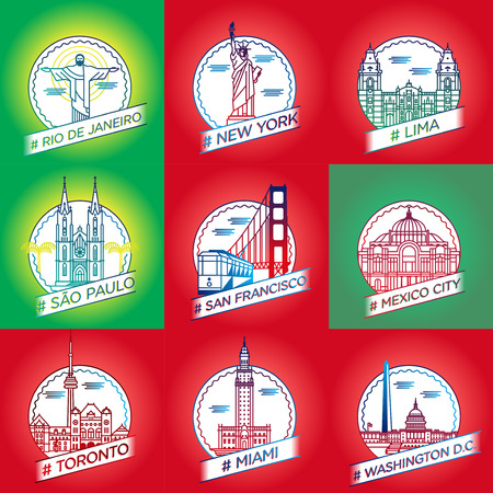 vector line rio de janeiro, New York, Lima, Saadi Paulo, san francisco, mexico city, toronto, miami, washington dc city badge set