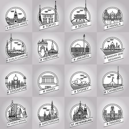 canberra: line city badge set Illustration