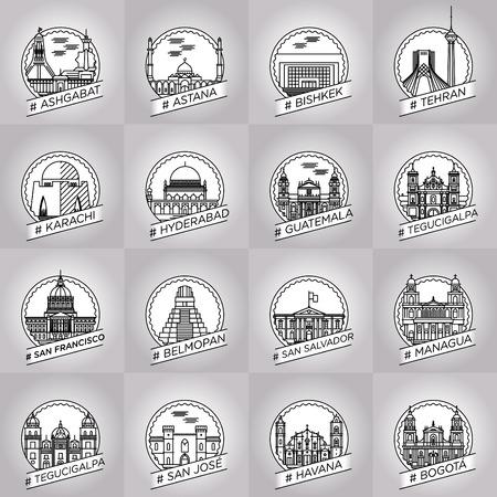 karachi: vector line ashgabat, astana, bishkek, tehran, karachi, hyderabad, guetemala, tegucigalpa, san francisco, belmopan, san salvador, managua, san jose, havana, city badge set collection