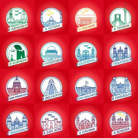 vector line ashgabat, astana, bishkek, tehran, karachi, hyderabad, guetemala, tegucigalpa, san francisco, belmopan, san salvador, managua, san jose, havana, city badge set collection