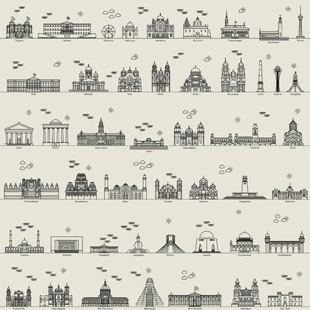 yerevan: vector line city set collection