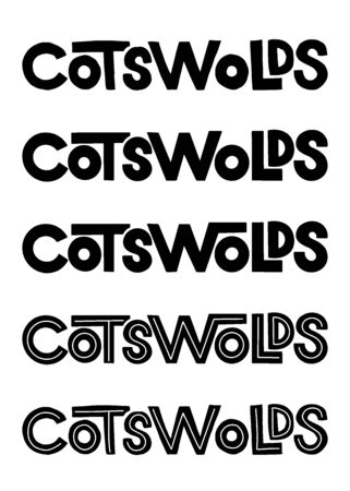 Cotswolds. Vector hand lettering element. Bold thick sans serif Cotswolds name for posters, cards, maps and travel guides. Stock Illustratie