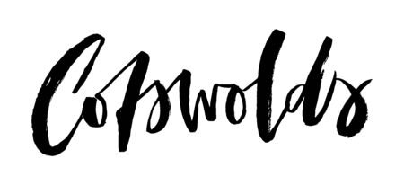 Cotswolds. Vector ragged brush lettering element. Cotswolds area name for posters, cards, maps and travel guides. Graffiti style. Isolated black and white text.
