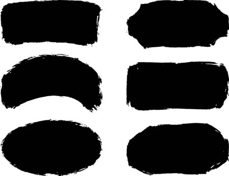 Set of six hand drawn abstract black paint labels or frames. Vector collection of shapes isolated on white background. Design elements for labels, banners, posters, tags.