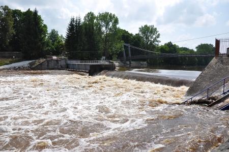 Big water on weir Strakonice  photo