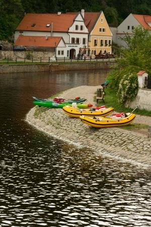 river bank: Cesky Krumlov, boats at river bank