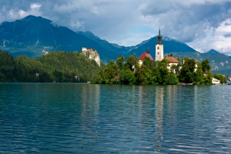 Lake Bled, church and castle photo