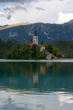 bled: Lake Bled, church