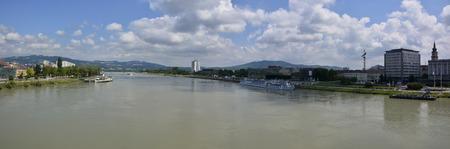 linz: Linz Danube panorama Stock Photo
