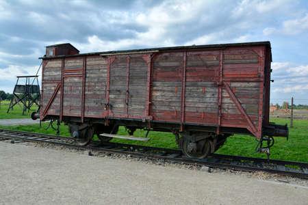 birkenau: Transportation wagon at museum Birkenau, Oswiecym Editorial