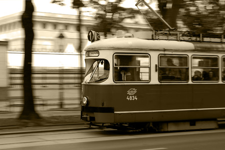 europe vintage: Tram in Vienna Black and White Editorial