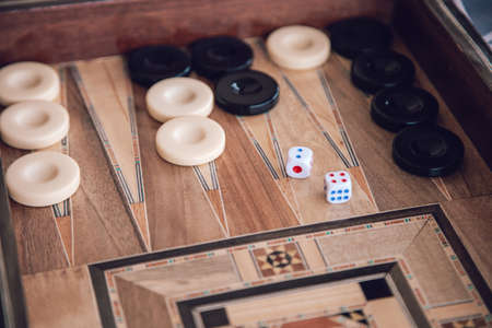 Backgammon Wooden Traditional Oriental Syrian Decorated Game Board with Dices and Damas Checkers Round Pieces