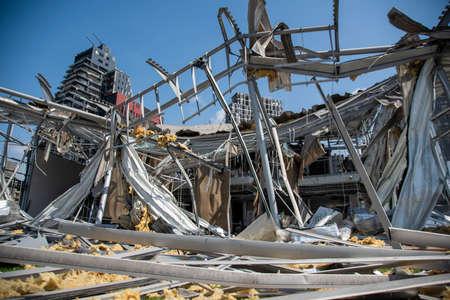 8 8 2020: Beirut City Destruction after the massive explosion | Beirut Port Blast crashed houses Editorial