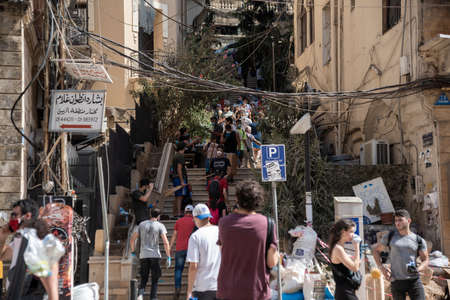 8 8 2020: Lebanese Citizens in Street after the massive explosion in Beirut observing the City Blast destruction