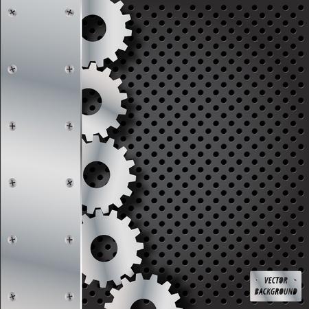 fibra de carbono: Fondo abstracto de metal Vectores