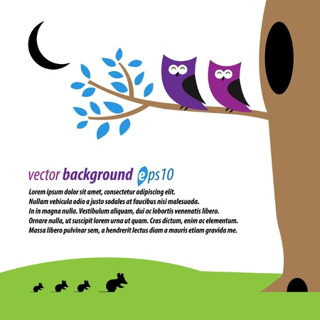 Abstract owls and mouses in the night Vector