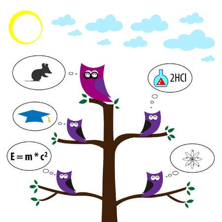 knowledgeable: Abstract vector owl dreams Illustration