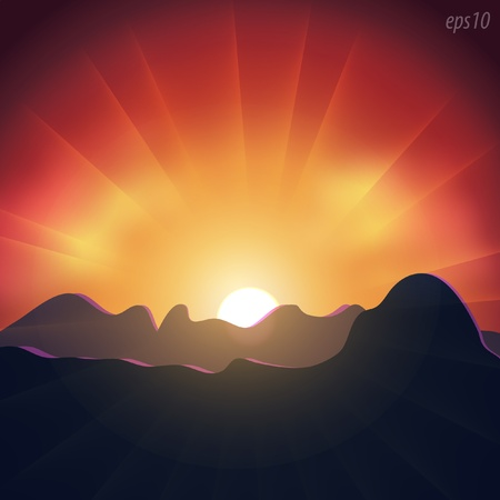 Sunset in the mountains Stock Vector - 9719574