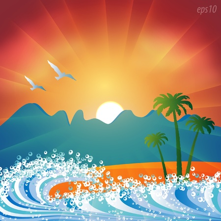 blue wave: Summer holiday beach background vector Illustration