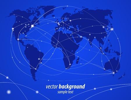 illustration night travel world map Stock Vector - 9788023