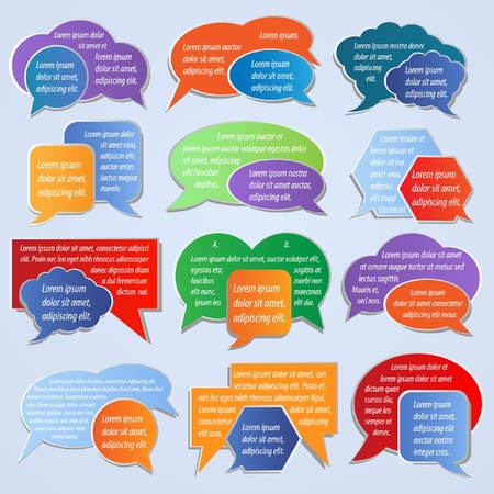 Set of colorful labels, speech bubbles Stock Vector - 9788423