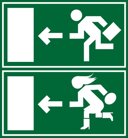 Green emergency exit sign, icon and symbol Vector
