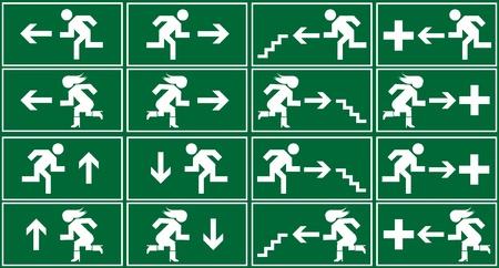 salida de emergencia: Conjunto de signo, icono y s�mbolo de salida de emergencia verde