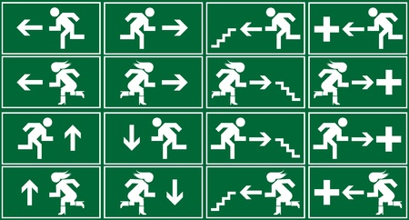 emergency exit: Green emergency exit sign, icon and symbol set